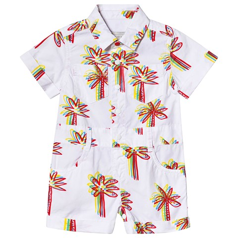 Stella McCartney Kids White Palm Tree Embroidered Romper