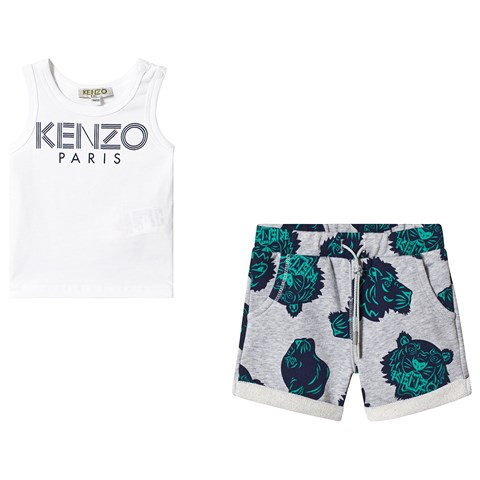 Kenzo Kids White Logo Vest and Tiger Print Sweat Shorts