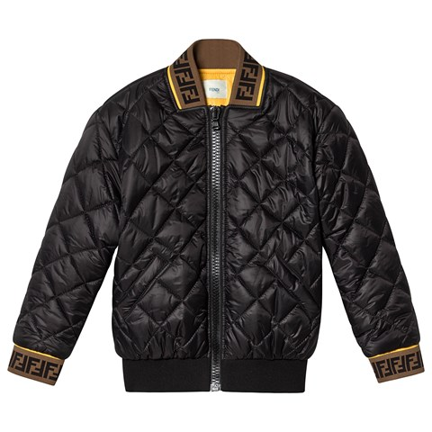 Fendi Black Quilted Down Bomber Jacket with FF Logo Trim