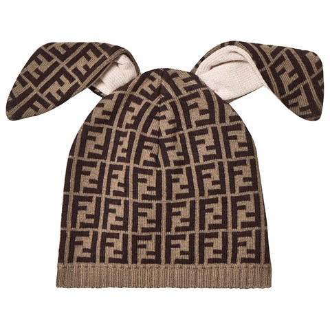 Fendi Brown Logo Bunny Ear Hat