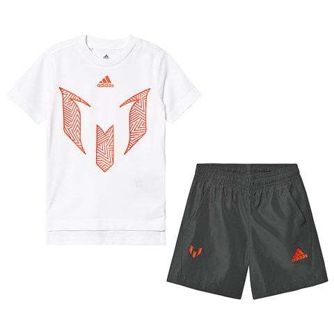 adidas Performance White Messi T-Shirt and Charcoal Shorts Set