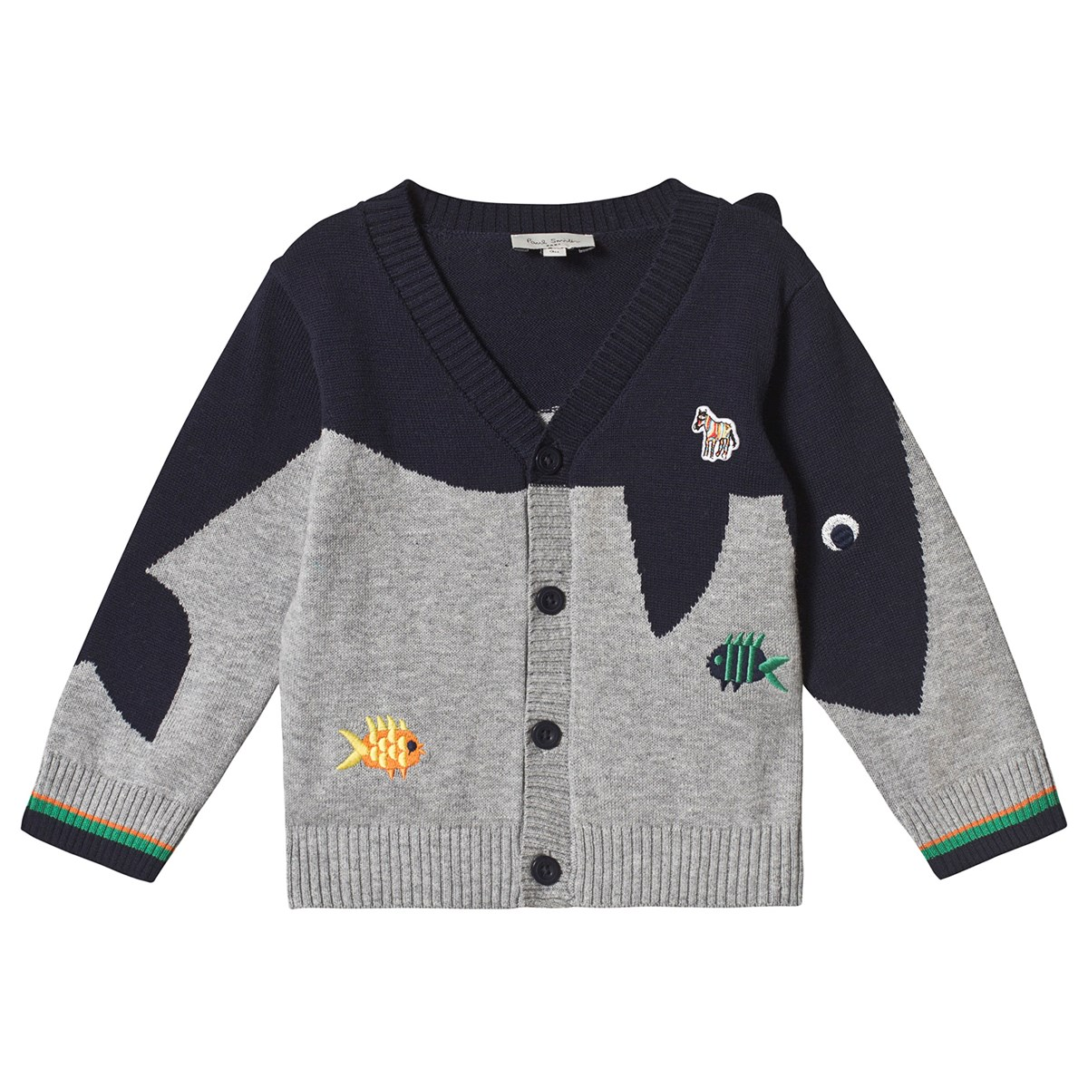 b87f35d36 Paul Smith Junior Grey and Navy Shark Intarsia and Fish Applique ...