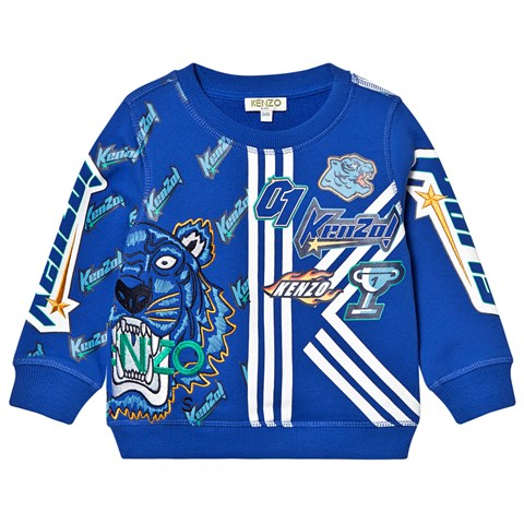 Kenzo Kids Royal Blue Multi Logo and Tiger and Embroidered Sweatshirt