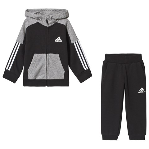 adidas Performance Black and Grey Hoodie and Sweatpants Set
