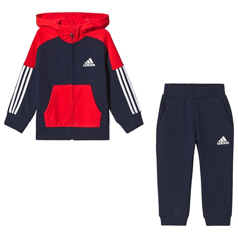 adidas Performance Navy and Red Hoodie and Sweatpants Tracksuit
