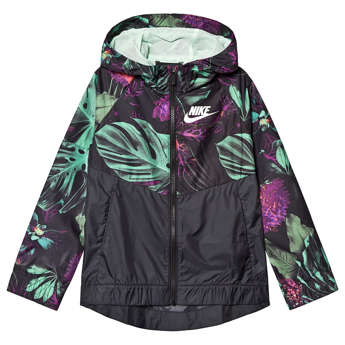 30197b2b467f6 Nike Black Floral Print Nike Hooded Windbreaker