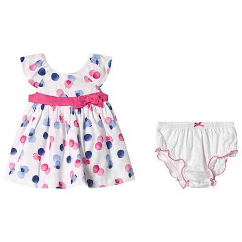 Mayoral Pink and Blue Bird Print Dress And Bloomer Set