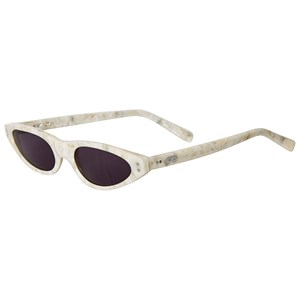 Beau Loves White Mother of Pearl Cat-Eye Sunglasses One Size