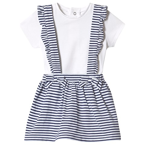 Mayoral White T-Shirt & Navy Stripe Dungaree Skirt Set
