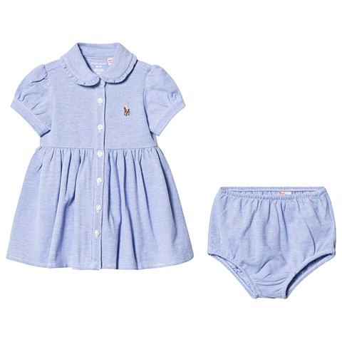 Ralph Lauren Blue Oxford Mesh Dress with Matching Bloomers