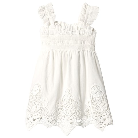 Mayoral White Broderie Anglaise Smock Dress