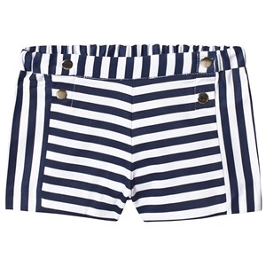 MAYORAL | Mayoral Mayoral Navy And White Stripe Elasticated Waist Shorts 36 months | Goxip