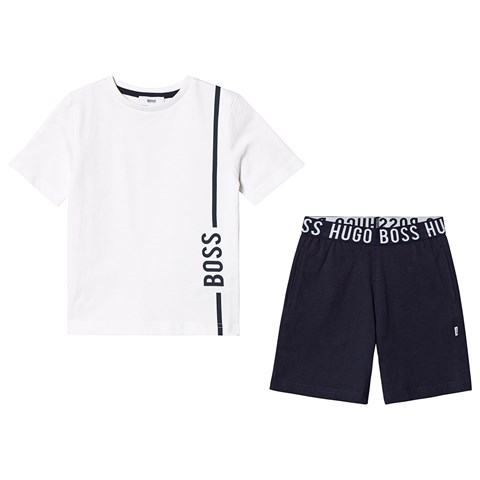 BOSS White and Navy T-Shirt and Sweat Shorts with Branded Waistband
