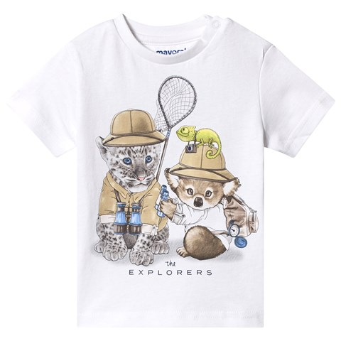 Mayoral White Safari Animals Print T-Shirt