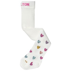 MELTON | Melton White Lurex Glitter Heart Baby Tights 68-74 (3-6 Months) | Goxip