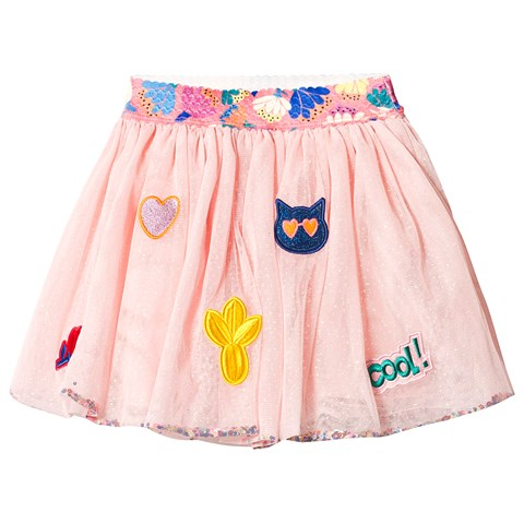 55163053e Billieblush Pink Embroidered Patches Tutu Skirt with Sequins ...