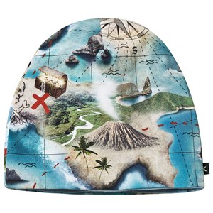 MOLO | Molo Blue Treasure Map Ned Baby Hat 3-6 Months | Goxip