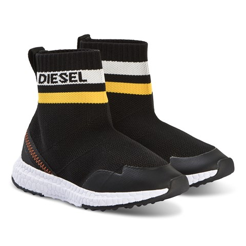 Diesel Black and Red Knit Trainers