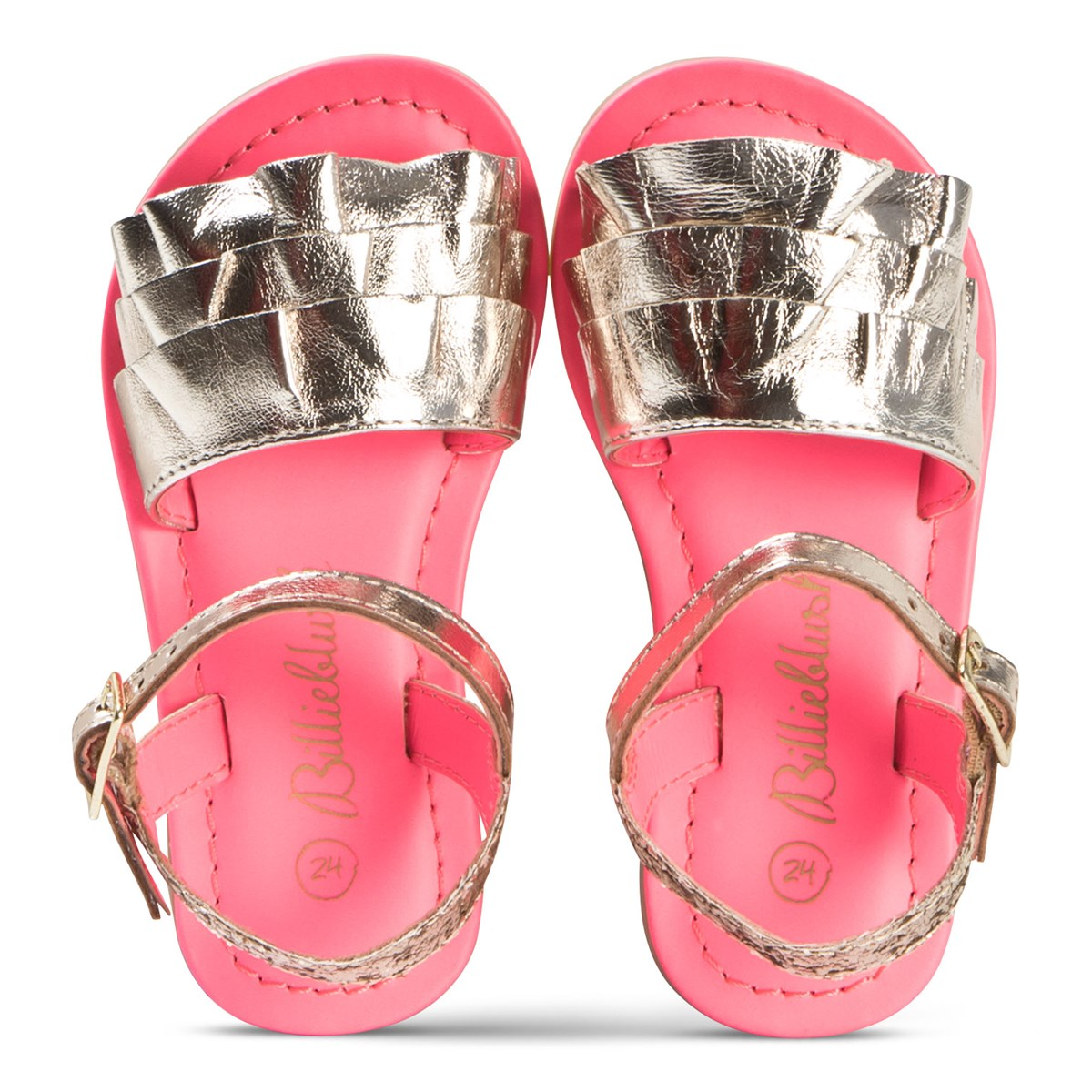 59bc89640df9 Billieblush Gold Leather Ruffle and Glitter Sandals