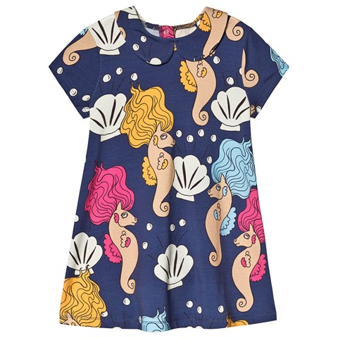 Mini Rodini Navy Seahorse Peter Pan Collar Dress