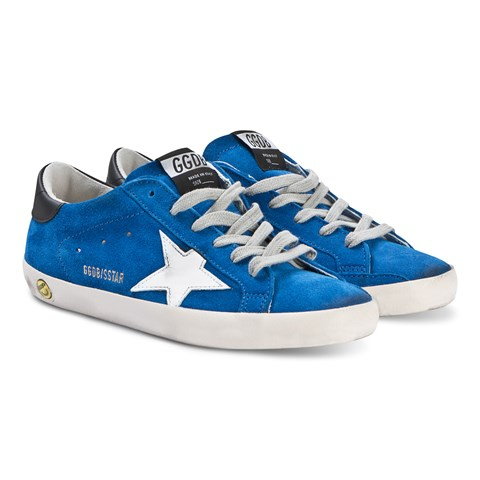 Golden Goose Blue Superstar Sneakers with Silver Star