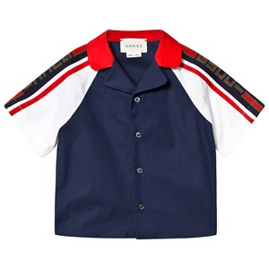 GUCCI | Gucci Gucci Blue and White Branded Sleeve Shirt 9-12 months | Goxip
