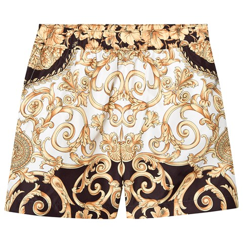 33865f22a0 Versace White and Gold Baroque Print Swim Shorts | AlexandAlexa