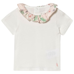 CARRÉMENT BEAU | Carrément Beau Carrément Beau White Cotton T-Shirt with Floral Print Collar 9 months | Goxip