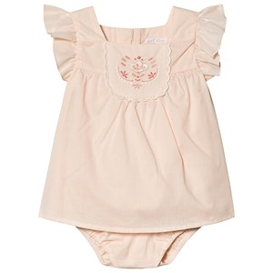 CHLOÉ | Chloé Chloé Pale Pink Embroidered Floral Frill Dress Body with Pearl Buttons and Sun Hat 6 months | Goxip