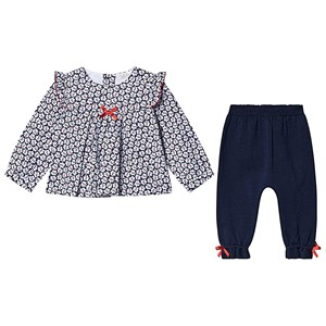 DR. KID | Dr Kid Dr Kid Navy Floral Print Blouse with Navy Knit Leggings 6 months | Goxip