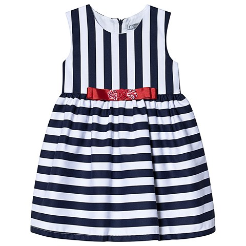 732e55f860e0 Dr Kid Navy and White Stripe Dress with Red Bow