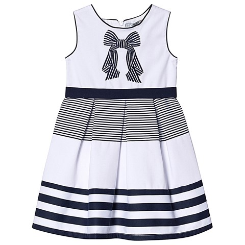 ae2f777784a6 Dr Kid Navy and White Stripe Bow Embroidered Dress