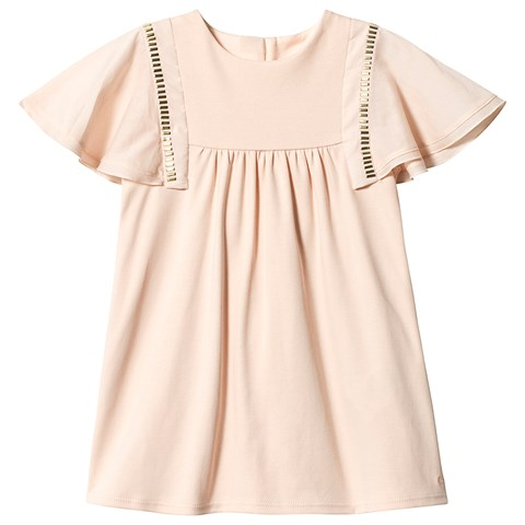 Chloé Pale Pink and Gold Embellished Jersey Dress with Frill Cap Sleeve