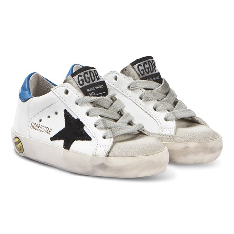 Golden Goose White and Blue Superstar Sneakers with Black Star
