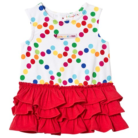 2726c58eed4aa White Multi Spot and Red Ruffle Skirt Dress