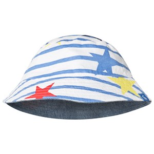 JOULES   Joules Blue and White Stripe Reversible Star Bucket Hat 6-12 months   Goxip