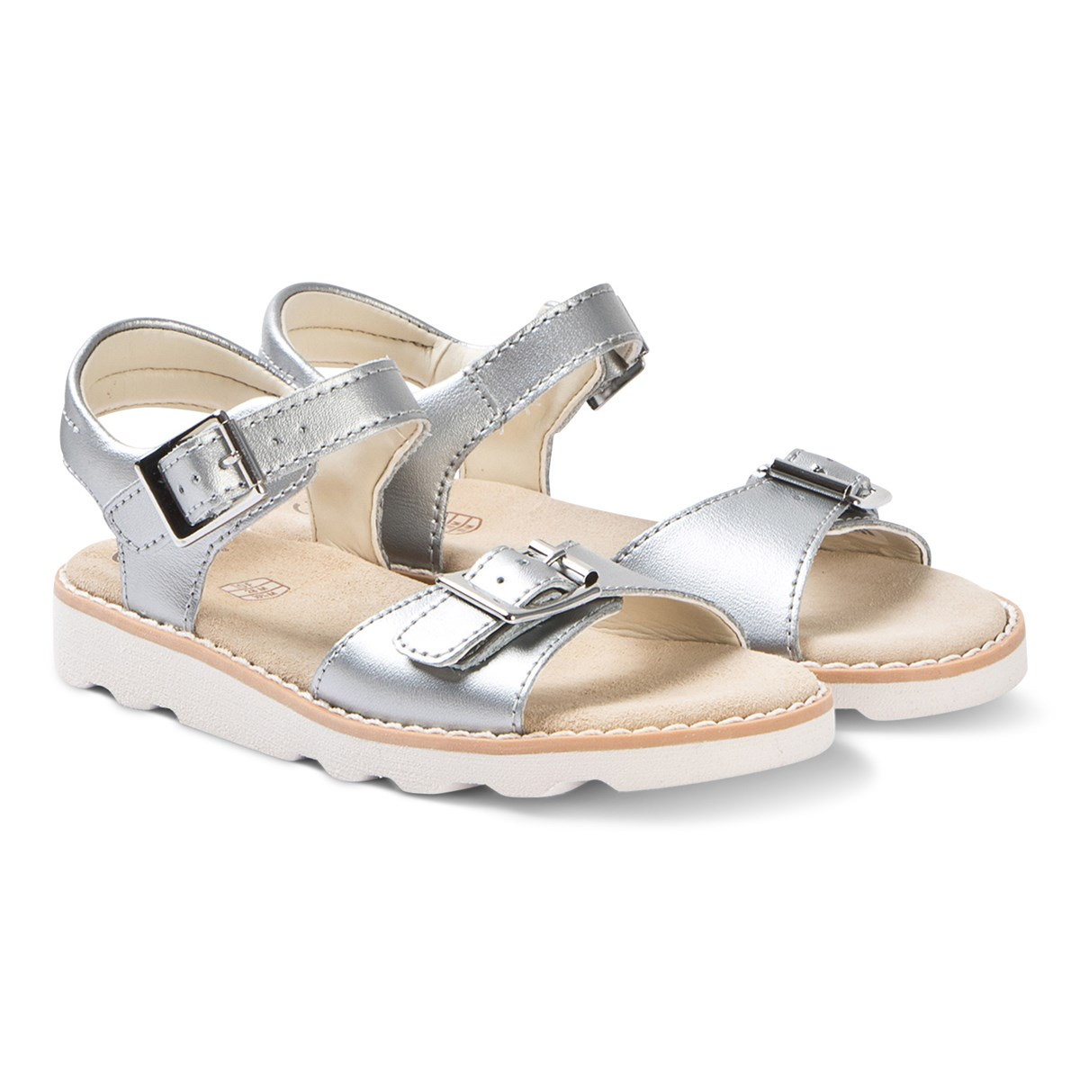 Clarks Silver Leather Crown Bloom Sandals