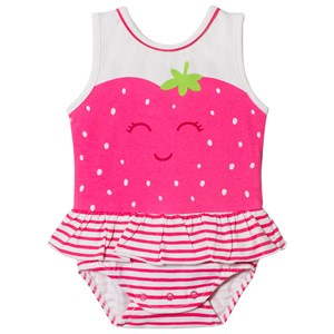 MAYORAL | Mayoral Pink Strawberry Face and Frill Romper with Pink Headband 1-2 months | Goxip