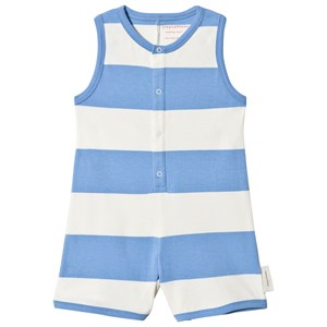 TINYCOTTONS   Tinycottons Off-White And Cerulean Blue Big Stripes One-Piece 6 Years   Goxip