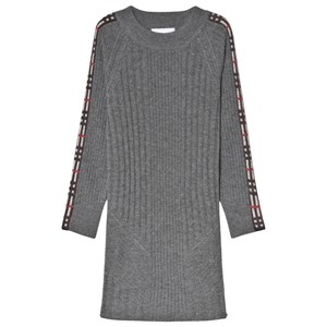 BURBERRY | Burberry Grey Melange Cathina Knit Dress With Check Detail 6 Years | Goxip
