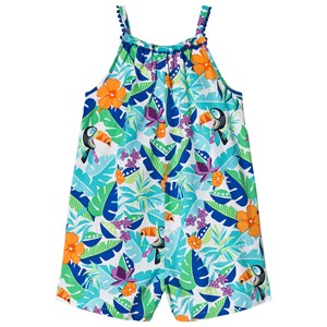 LANDS' END | Lands' End Lands' End Blue And Green Tropical Floral Print Gathered Neck Romper 6-7 years | Goxip