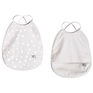 BUDDY & HOPE | Buddy & Hope Set of 2 Grey Plain & Polka Dot Bibs One Size | Goxip