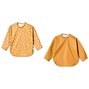 BUDDY & HOPE | Buddy & Hope Yellow And Yellow Dots Bibs With Arms One Size | Goxip
