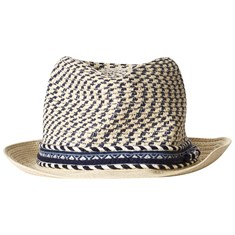 acd966f84e Beige and Navy Branded Straw Trilby