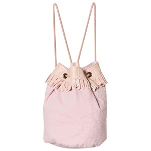 EASY PEASY   Easy Peasy Pink Frill Drawstring Leather and Canvas Bucket Bag One Size   Goxip