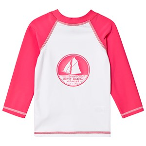 PETIT BATEAU | Petit Bateau White and Pink Anti UV Rash Top 8 Years | Goxip