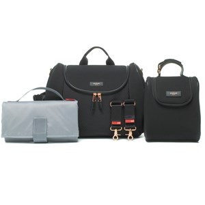 STORKSAK | Storksak Black Poppy Luxe Scuba Changing Bag One Size | Goxip
