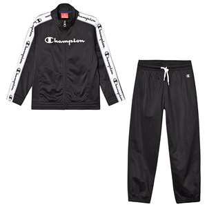 CHAMPION   Champion Black Branded Tricot Tracksuit 9-10 Years   Goxip