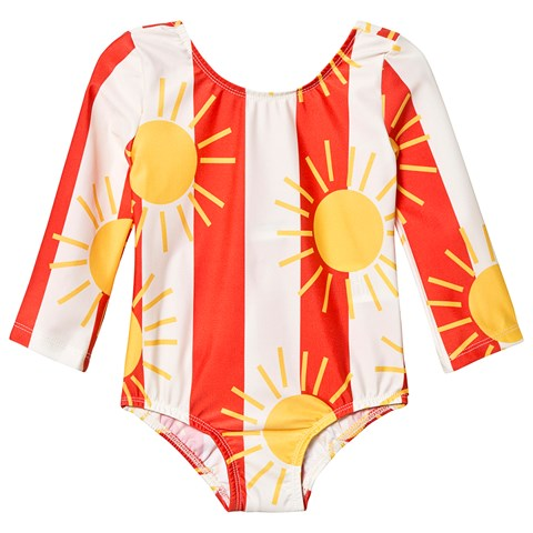 89423e79fd Mini Rodini Off White Sun Stripe Long Sleeve Swimsuit | AlexandAlexa