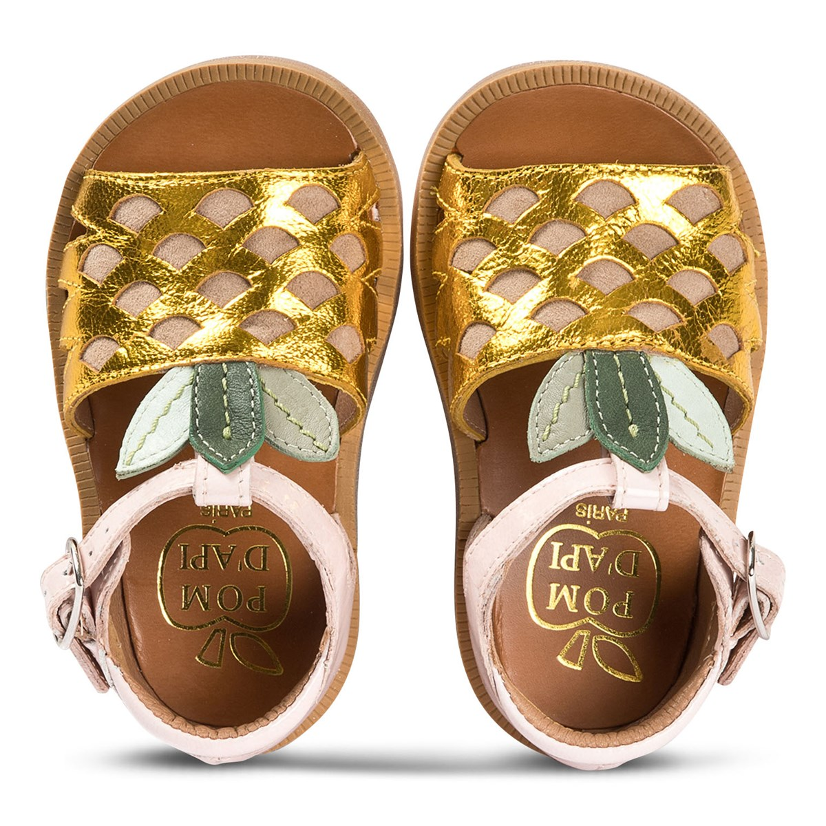 2a4f5eb2fcca Pom D api Gold and Pink Patent Pineapple Leather Sandals